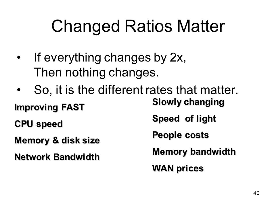 40 Changed Ratios Matter If everything changes by 2x, Then nothing changes.
