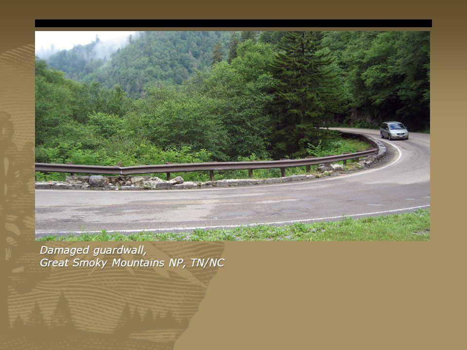 Damaged guardwall, Great Smoky Mountains NP, TN/NC