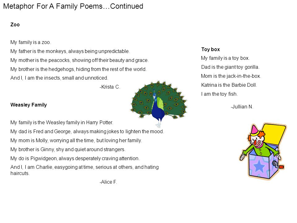 Metaphor For A Family Poems…Continued Zoo My family is a zoo.