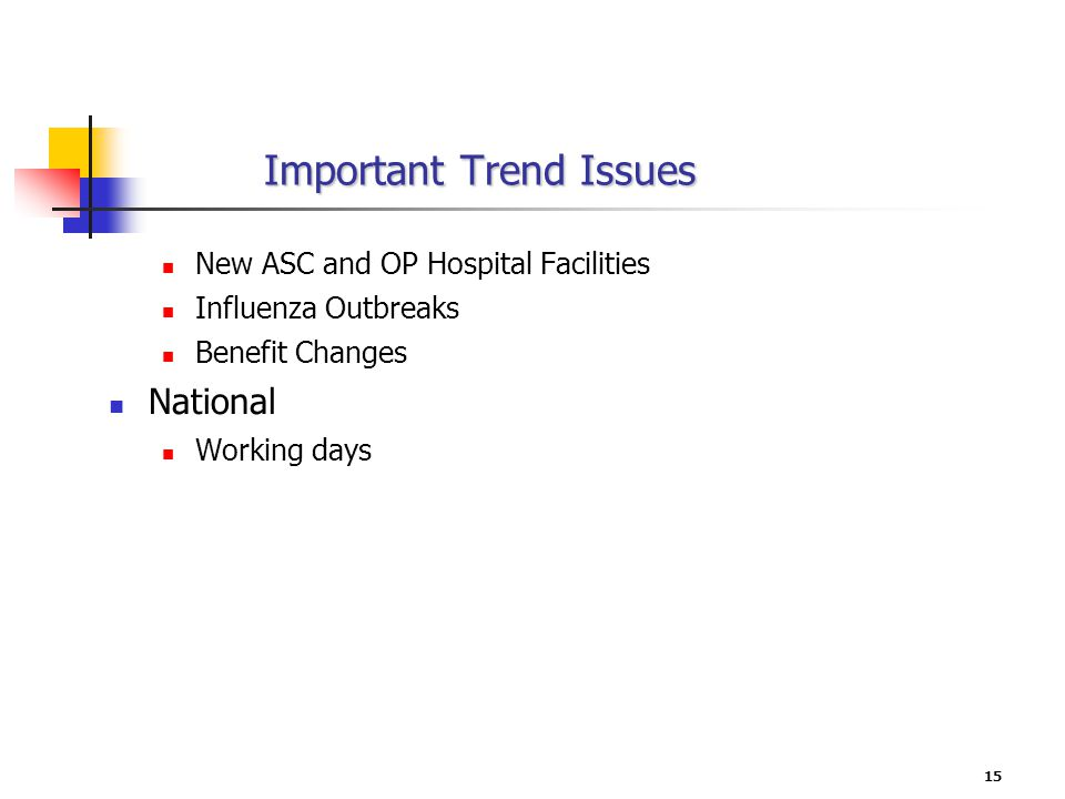 15 Important Trend Issues New ASC and OP Hospital Facilities Influenza Outbreaks Benefit Changes National Working days