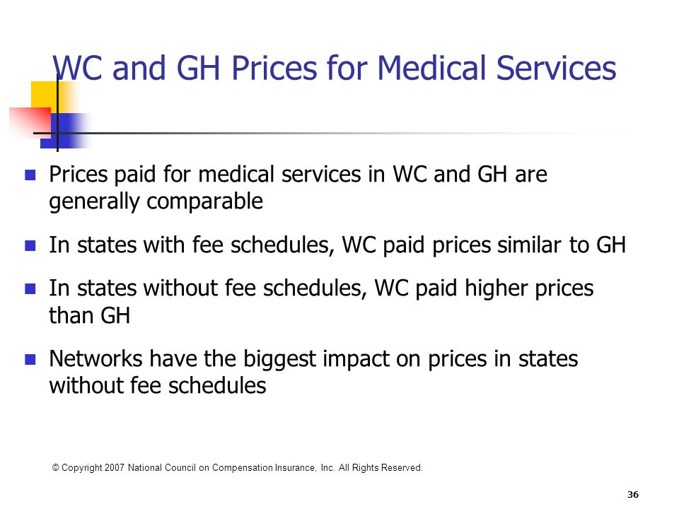 36 WC and GH Prices for Medical Services Prices paid for medical services in WC and GH are generally comparable In states with fee schedules, WC paid prices similar to GH In states without fee schedules, WC paid higher prices than GH Networks have the biggest impact on prices in states without fee schedules Excludes hospitals Medical services provided 1997 to 2001 States reviewed: FL, GA, IL, KY, TN © Copyright 2007 National Council on Compensation Insurance, Inc.