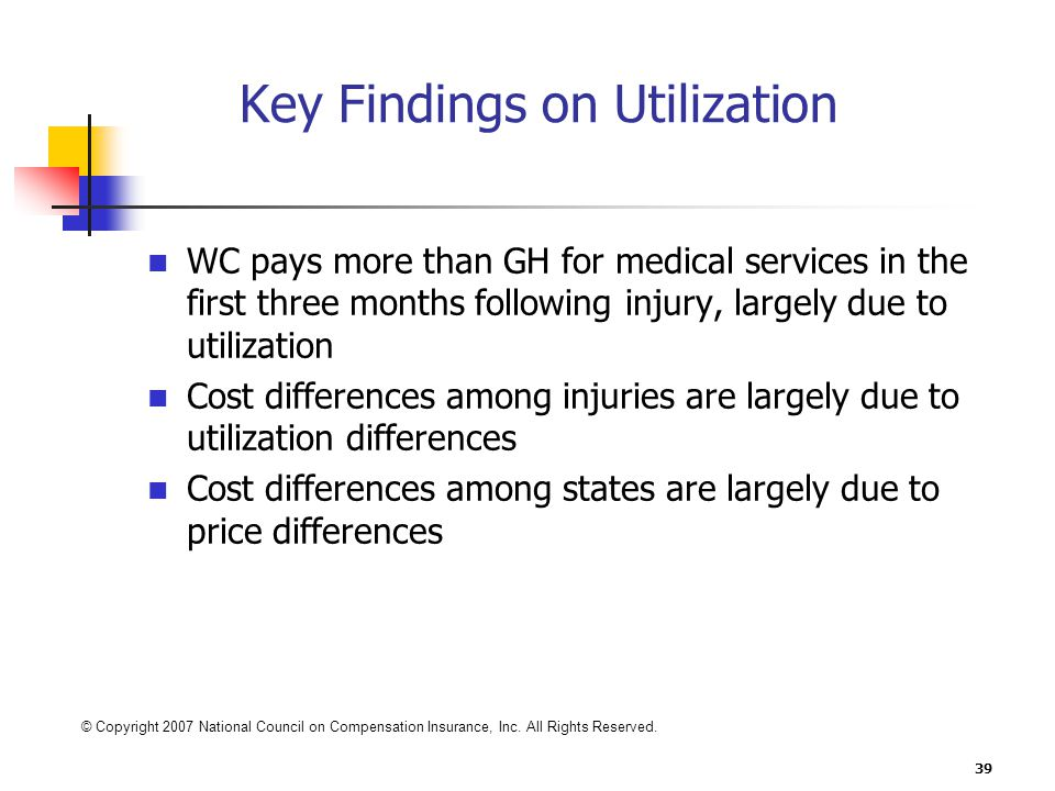 39 Key Findings on Utilization WC pays more than GH for medical services in the first three months following injury, largely due to utilization Cost differences among injuries are largely due to utilization differences Cost differences among states are largely due to price differences © Copyright 2007 National Council on Compensation Insurance, Inc.