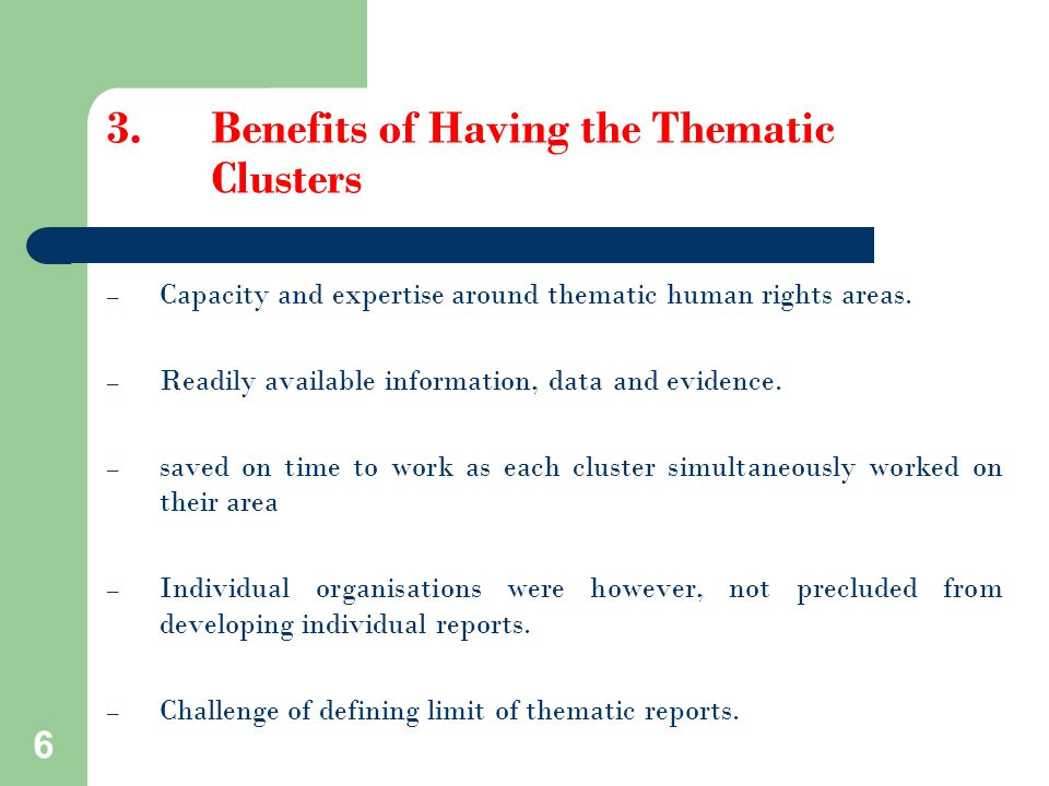 3.Benefits of Having the Thematic Clusters – Capacity and expertise around thematic human rights areas.