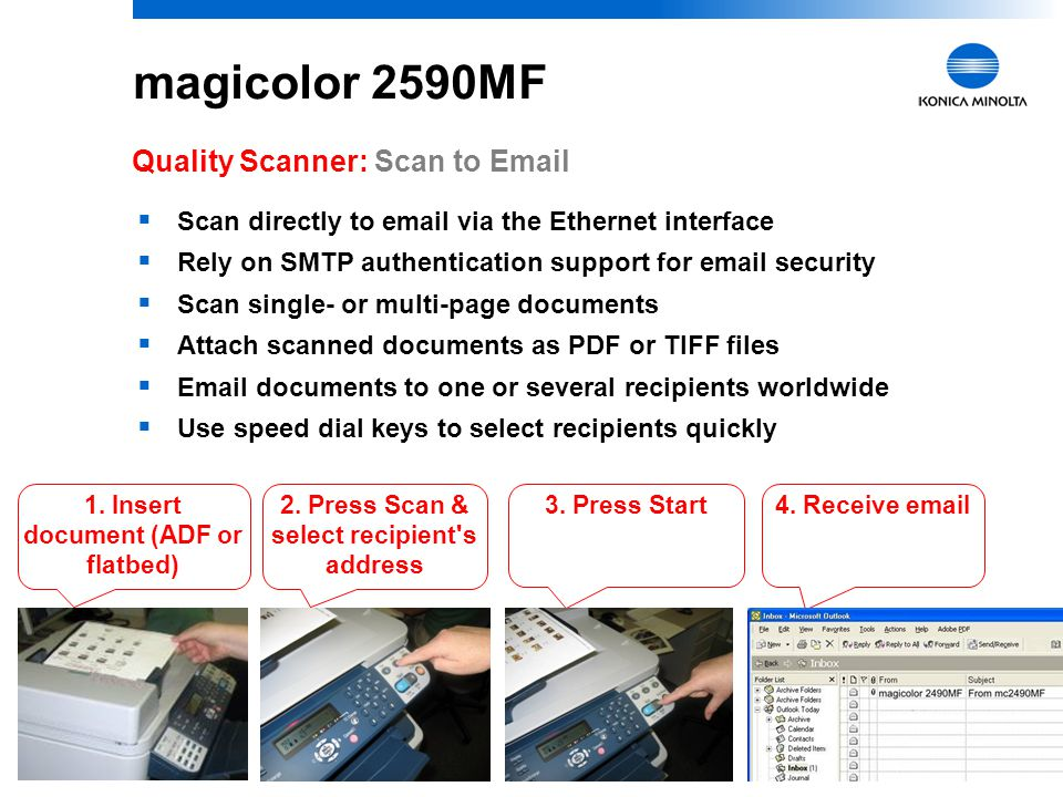 """11 magicolor 2590MF Quality Scanner: LinkMagic Software  Program for """"Push Scan"""" –Convenient, walk-up scanning over USB interface—no need to open an"""