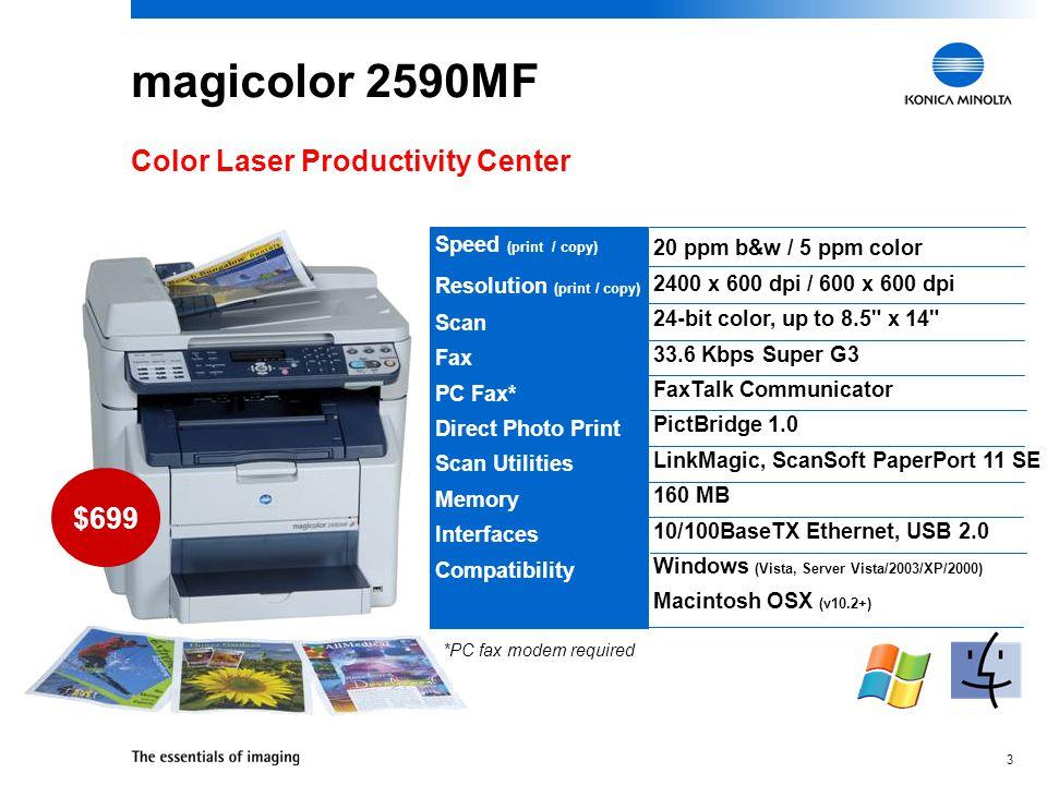 3 20 ppm b&w / 5 ppm color 2400 x 600 dpi / 600 x 600 dpi 24-bit color, up to 8.5 x 14 33.6 Kbps Super G3 FaxTalk Communicator PictBridge 1.0 LinkMagic, ScanSoft PaperPort 11 SE 160 MB 10/100BaseTX Ethernet, USB 2.0 Windows (Vista, Server Vista/2003/XP/2000) Macintosh OSX (v10.2+) magicolor 2590MF Color Laser Productivity Center Speed (print / copy) Resolution (print / copy) Scan Fax PC Fax* Direct Photo Print Scan Utilities Memory Interfaces Compatibility $699 *PC fax modem required