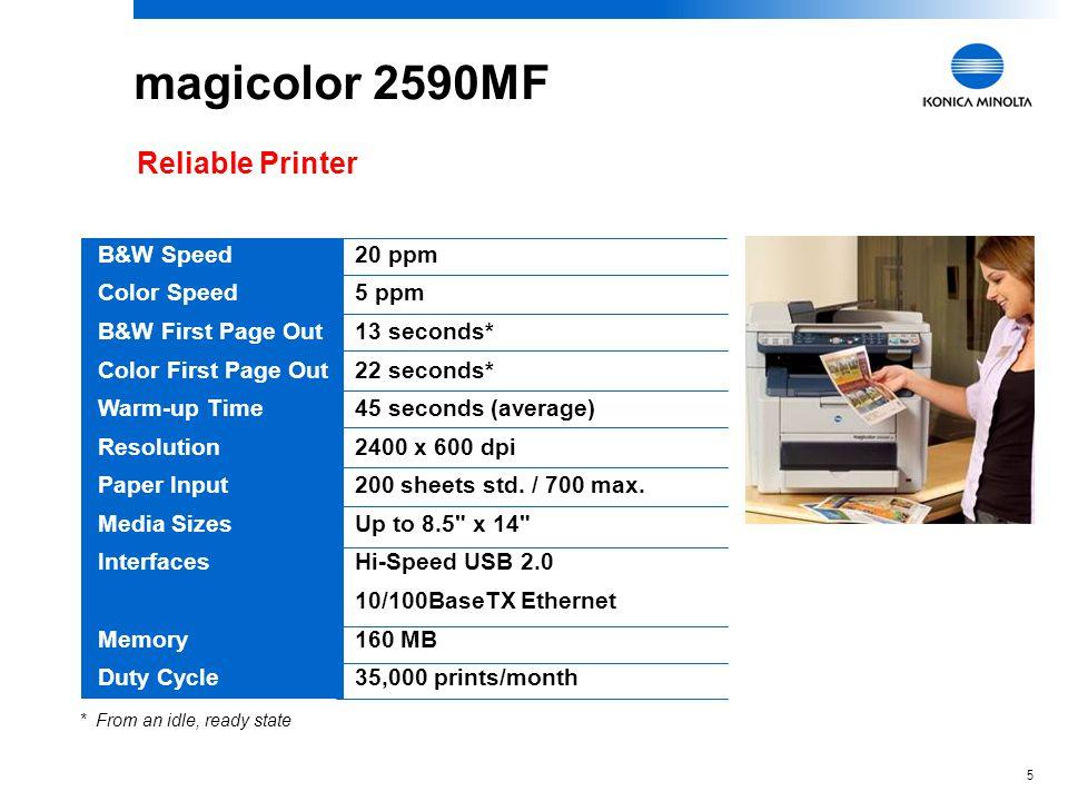 4 magicolor 2590MF magicolor 2490MFmagicolor 2590MFBenefit FunctionalityPrint Copy Scan Fax PC Fax Camera Direct Photo Print Same high-productivity fu