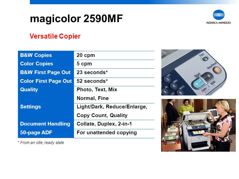 6 magicolor 2590MF Versatile Copier 20 cpm 5 cpm 23 seconds* 52 seconds* Photo, Text, Mix Normal, Fine Light/Dark, Reduce/Enlarge, Copy Count, Quality Collate, Duplex, 2-in-1 For unattended copying * From an idle, ready state B&W Copies Color Copies B&W First Page Out Color First Page Out Quality Settings Document Handling 50-page ADF