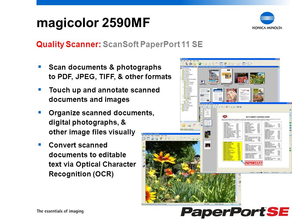 19 magicolor 2590MF Product Overview Adjustable 200-Sheet Multipurpose Tray Easy-Access Consumables Camera Direct Photo Printing via USB 1.1 Host Port Flatbed Copier/Scanner Laser Printer USB 2.0 10/100BaseTX Ethernet Easy-to-Use Control Panel 50-Sheet Auto Document Feeder (for Copying, Scanning, & Faxing) 100-Sheet Output Tray PC Fax Software Optional Duplexer (for Two-Sided Printing & Copying) Super G3 Fax Optional 500-Sheet Lower Feeder