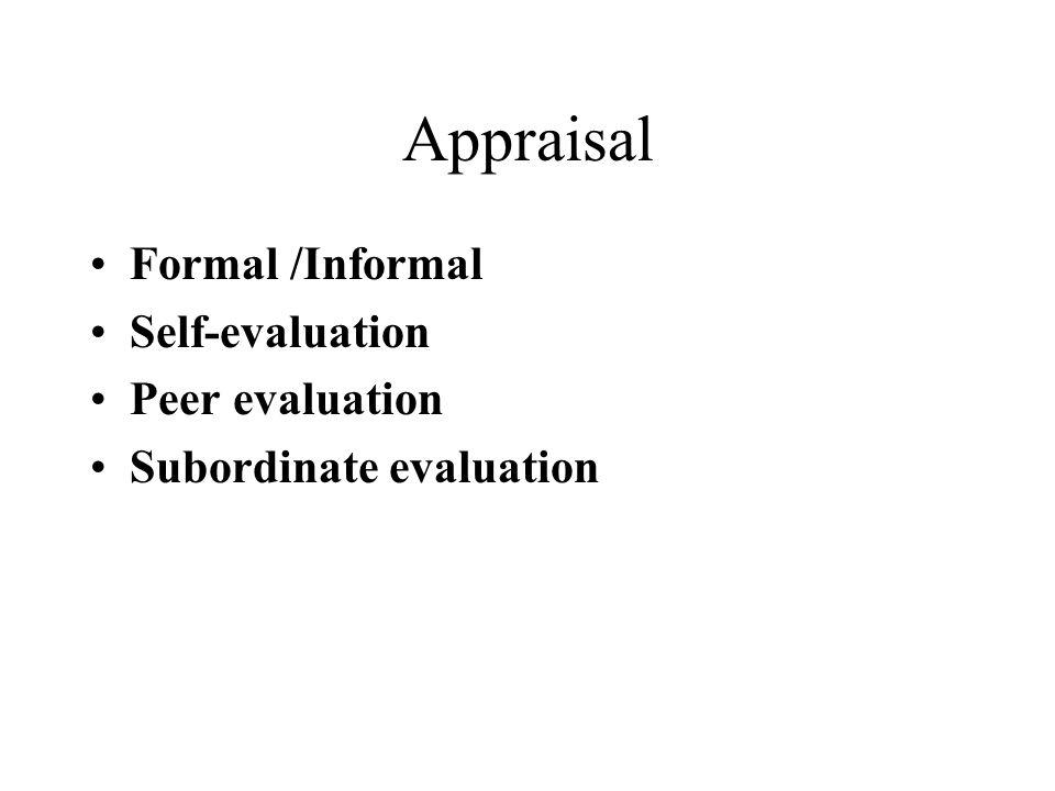 Appraisal Formal /Informal Self-evaluation Peer evaluation Subordinate evaluation