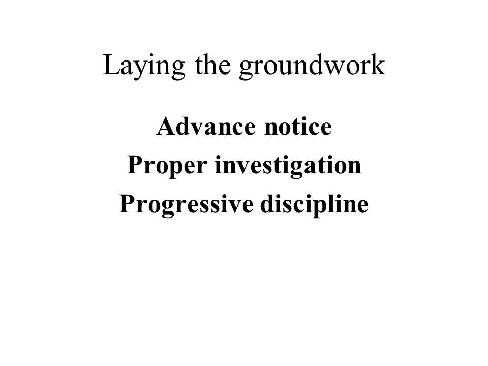 Laying the groundwork Advance notice Proper investigation Progressive discipline