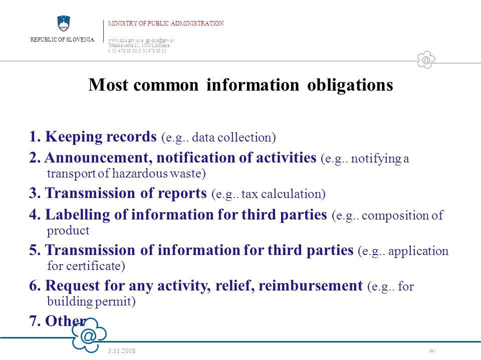REPUBLIC OF SLOVENIA MINISTRY OF PUBLIC ADMINISTRATION www.mju.gov.si, e: gp.mju@gov.si Tržaška cesta 21, 1000 Ljubljana t: 01 478 83 30, f: 01 478 83 31 3.11.2008 ‹#› What has to be observed when changing the legislation.
