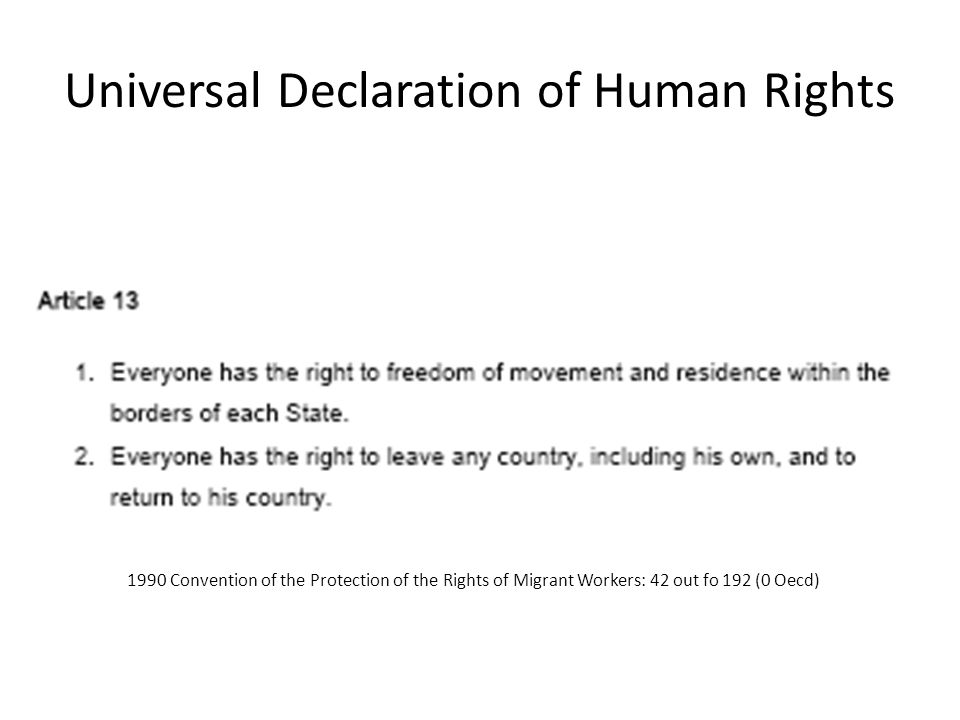 Universal Declaration of Human Rights 1990 Convention of the Protection of the Rights of Migrant Workers: 42 out fo 192 (0 Oecd)