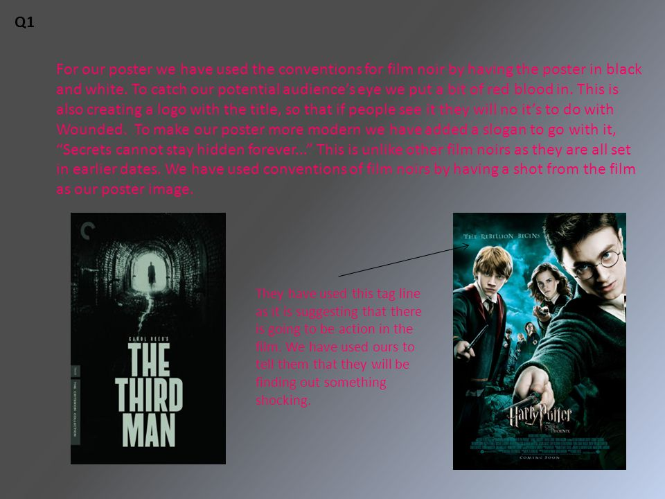 For our poster we have used the conventions for film noir by having the poster in black and white.