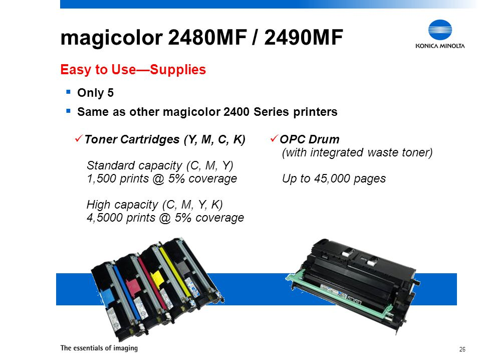 25 magicolor 2490MF One-touch control panel provides easy access to copy, scan, fax, and configuration functions Easy to Use—Intuitive Control Panel Toner Levels Error Information Device Configuration Copy Settings Cancel Alphanumeric Keypad Copy Stop Reset Start Toner Replacement Fax settings Fax Scan