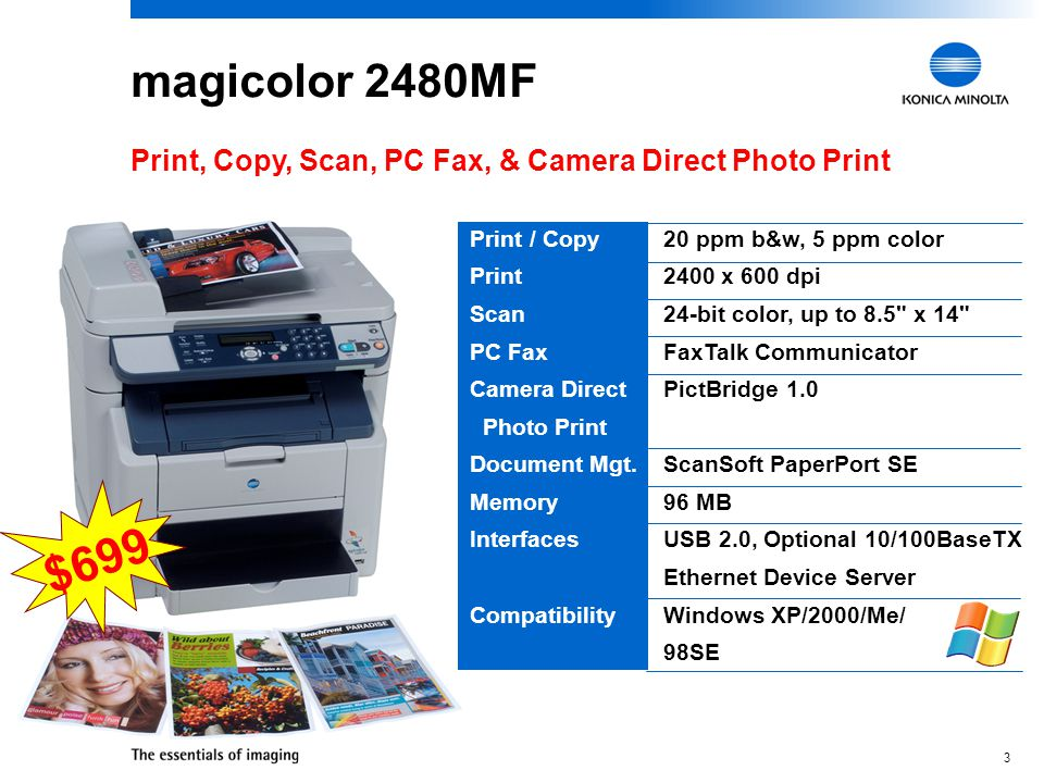 2 magicolor 2480MF / 2490MF  Essential business functions in a single compact desktop unit  Desktop convenience combined with high-speed laser quality  Based on the award-winning magicolor 2400 Series engine  Easy to set up and use  Versatile and cost effective All-in-One Color Laser Productivity Centers