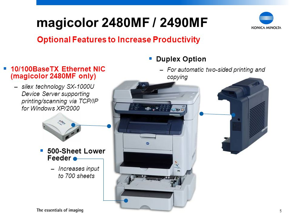 4 20 ppm b&w, 5 ppm color 2400 x 600 dpi 24-bit color, up to 8.5 x 14 33.6 Kbps Super G3 FaxTalk Communicator PictBridge 1.0 ScanSoft PaperPort SE 128 MB 10/100BaseTX Ethernet, USB 2.0 Windows Server 2003/XP/ 2000/Me/98SE magicolor 2490MF Print, Copy, Scan, Fax, PC Fax, & Camera Direct Photo Print $799 Print / Copy Print Scan Fax PC Fax Camera Direct Photo Print Document Mgt.