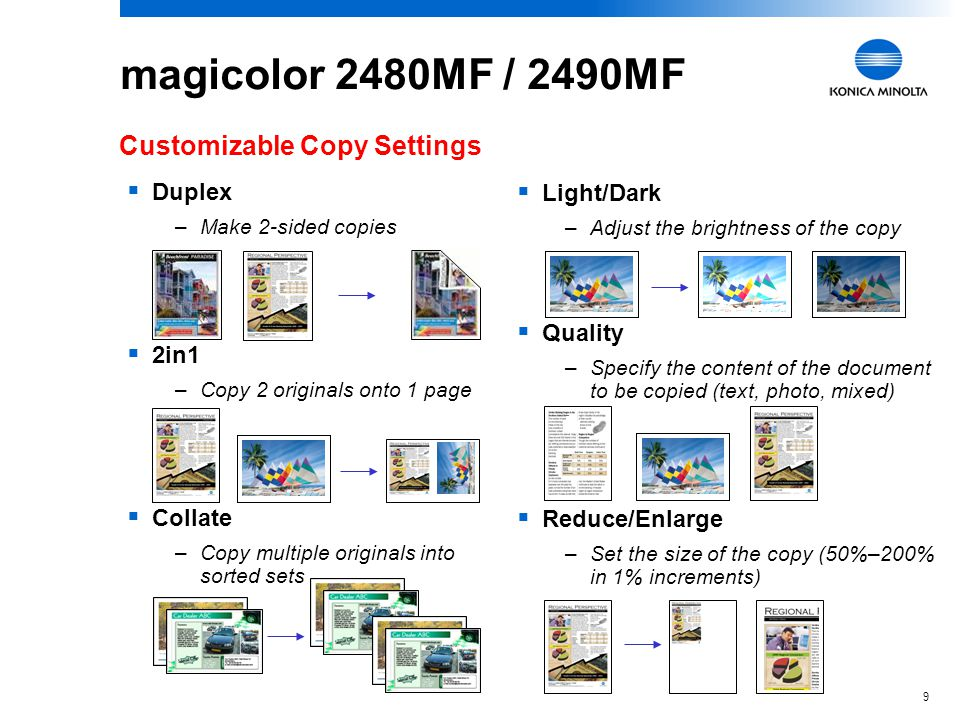 8 magicolor 2480MF / 2490MF Versatile Copiers...