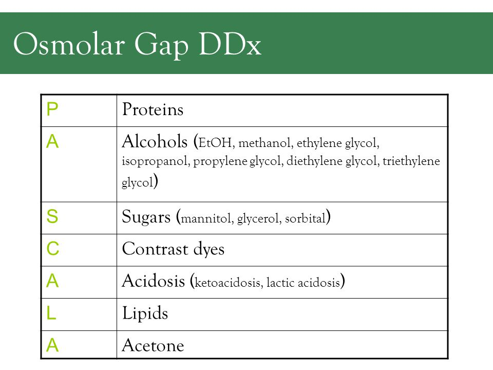 Osmolar Gap Osmolality –Solute/kg of solvent L ab measures Osmolarity –Solute/liter of solution –You calculate!