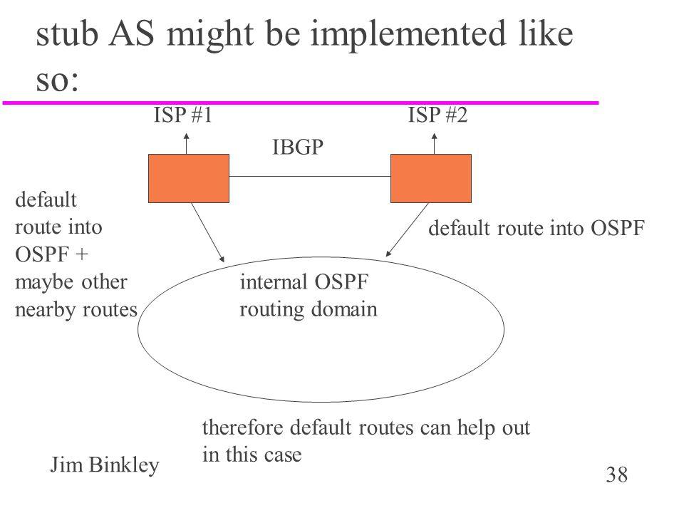 38 Jim Binkley stub AS might be implemented like so: ISP #1 ISP #2 IBGP internal OSPF routing domain default route into OSPF default route into OSPF +