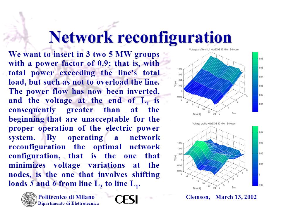 Politecnico di Milano Dipartimento di Elettrotecnica Clemson, March 13, 2002 Network reconfiguration We want to insert in 3 two 5 MW groups with a power factor of 0.9; that is, with total power exceeding the line s total load, but such as not to overload the line.