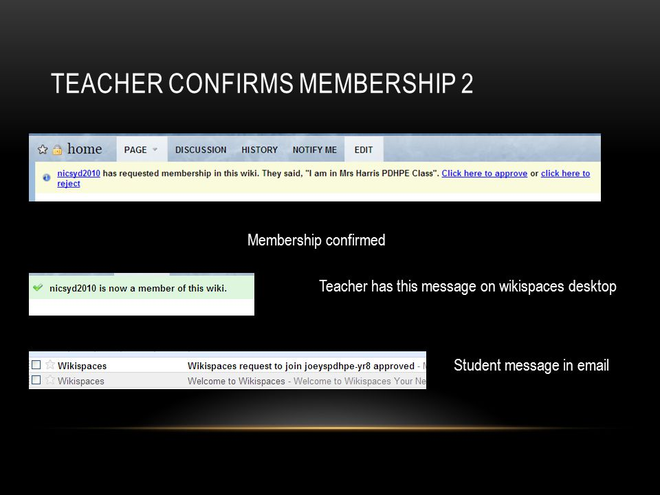 TEACHER CONFIRMS MEMBERSHIP 2 Membership confirmed Teacher has this message on wikispaces desktop Student message in email
