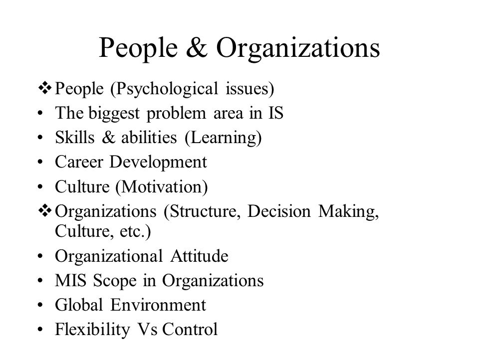 People & Organizations  People (Psychological issues) The biggest problem area in IS Skills & abilities (Learning) Career Development Culture (Motiva