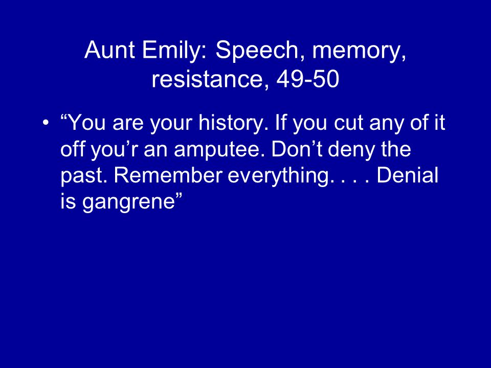 Aunt Emily: Speech, memory, resistance, You are your history.