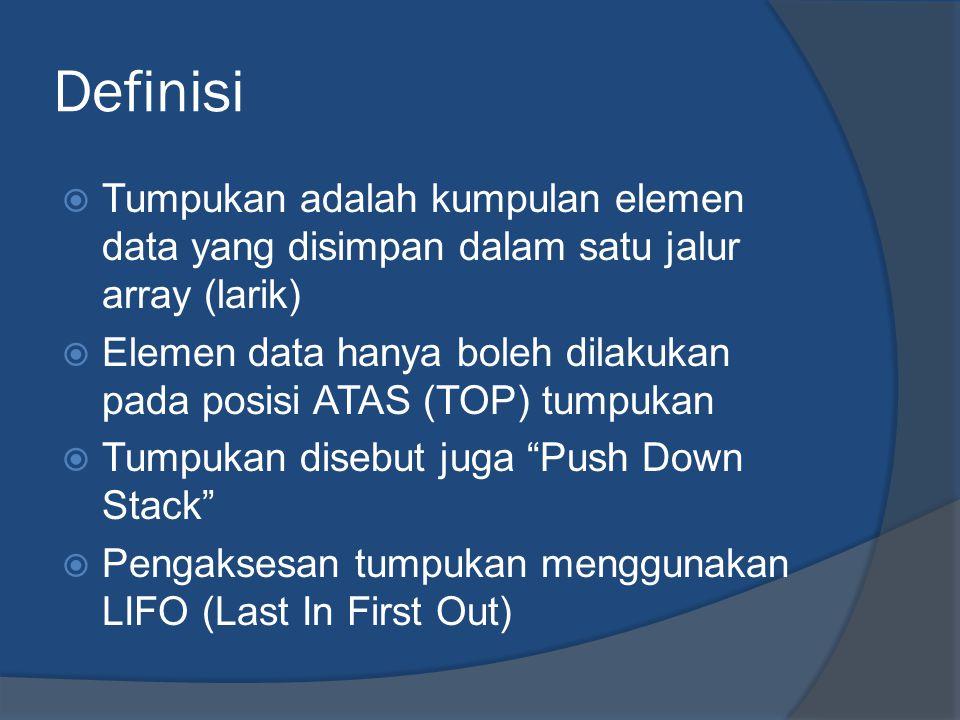 Definisi  Tumpukan adalah kumpulan elemen data yang disimpan dalam satu jalur array (larik)  Elemen data hanya boleh dilakukan pada posisi ATAS (TOP) tumpukan  Tumpukan disebut juga Push Down Stack  Pengaksesan tumpukan menggunakan LIFO (Last In First Out)