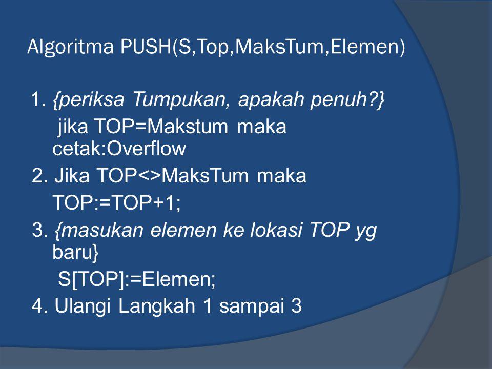 Algoritma POP(S,TOP,Elemen) 1.{Periksa Tumpukan, apakah Kosong?} Jika TOP=0; Cetak 'Underflow' 2.