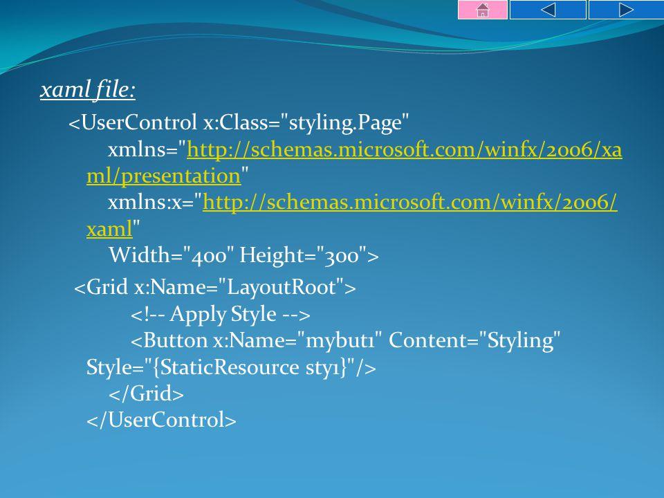 xaml file: http://schemas.microsoft.com/winfx/2006/xa ml/presentationhttp://schemas.microsoft.com/winfx/2006/ xaml