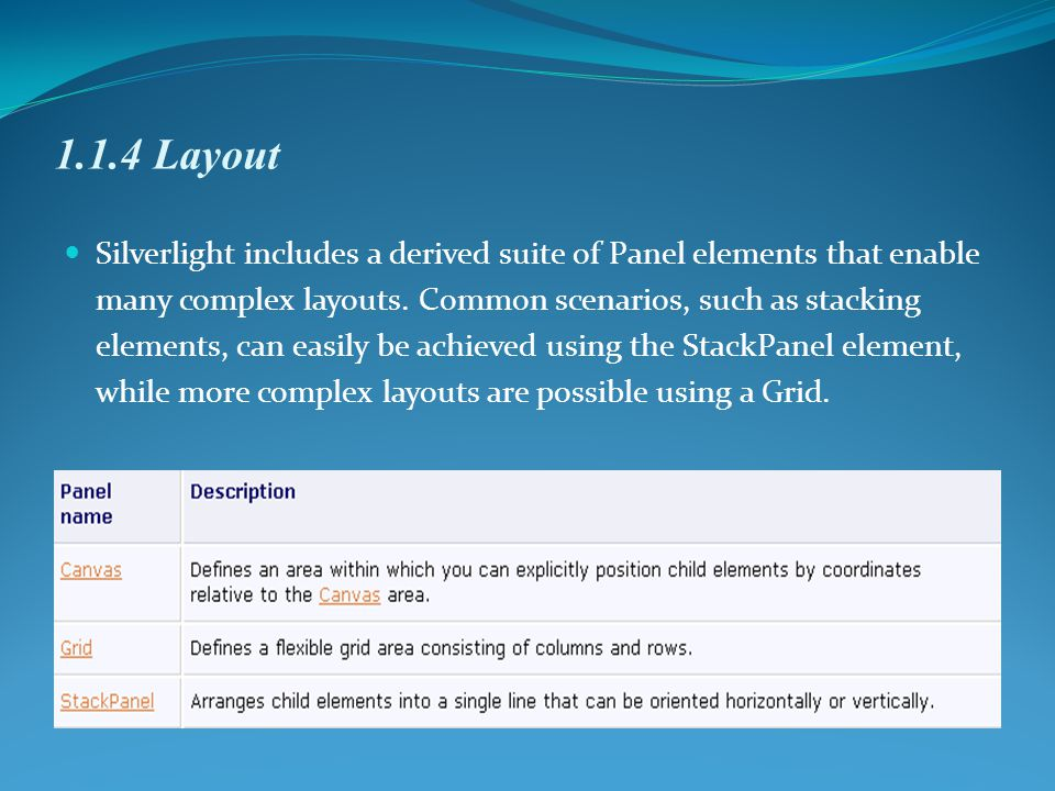 1.1.4 Layout Silverlight includes a derived suite of Panel elements that enable many complex layouts.
