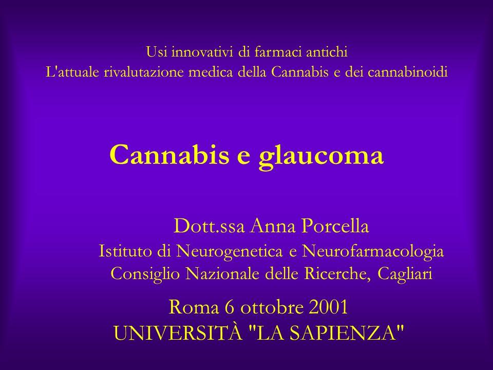 Cannabis e glaucoma Dott.ssa Anna Porcella Istituto di Neurogenetica e Neurofarmacologia Consiglio Nazionale delle Ricerche, Cagliari Roma 6 ottobre 2001 UNIVERSITÀ LA SAPIENZA Usi innovativi di farmaci antichi L attuale rivalutazione medica della Cannabis e dei cannabinoidi