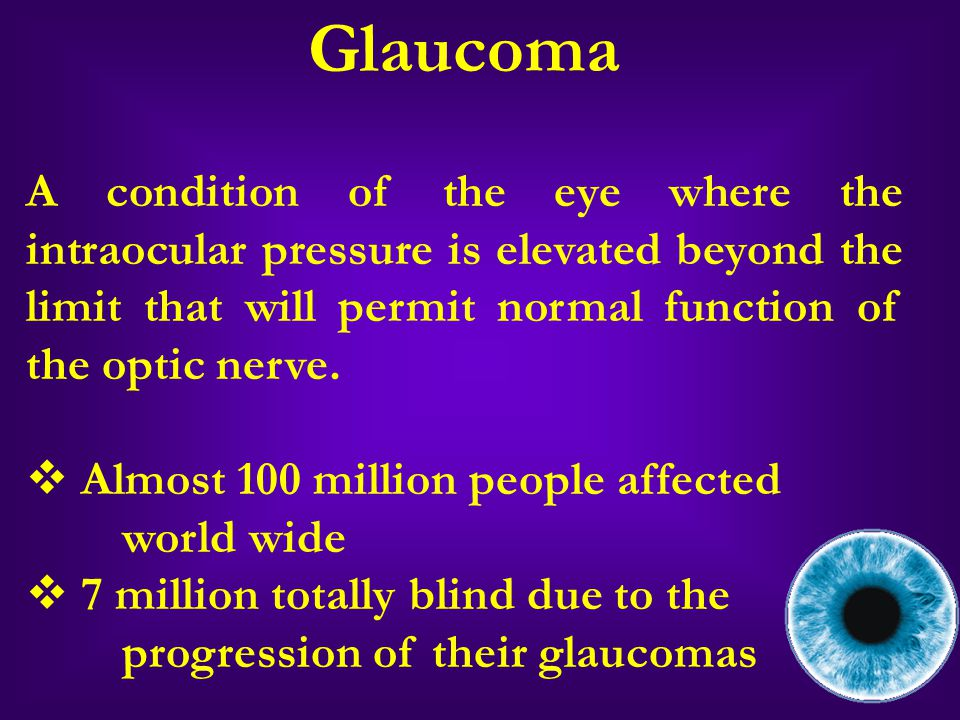 PRIMARY OPEN ANGLE GLAUCOMA (POAG) Open anterior chamber The obstruction of the trabecular meshwork – Schlemm's canal system blocks the outflow of aqueous humor
