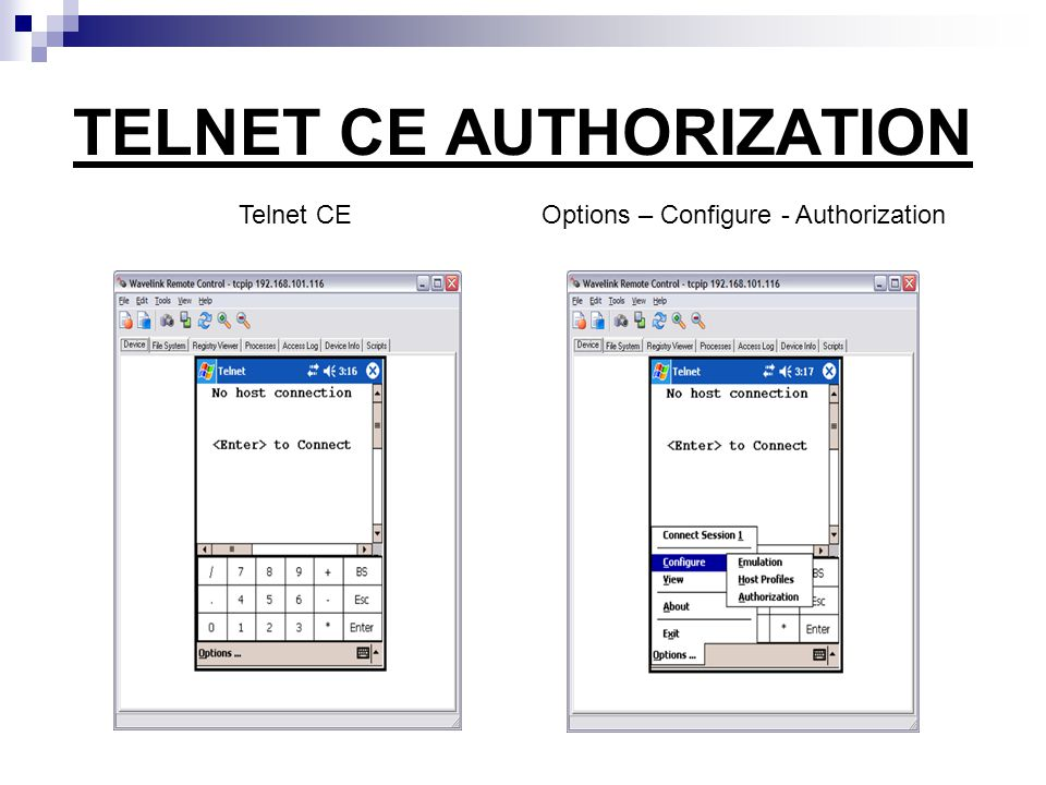 TELNET CE AUTHORIZATION Telnet CE Options – Configure - Authorization