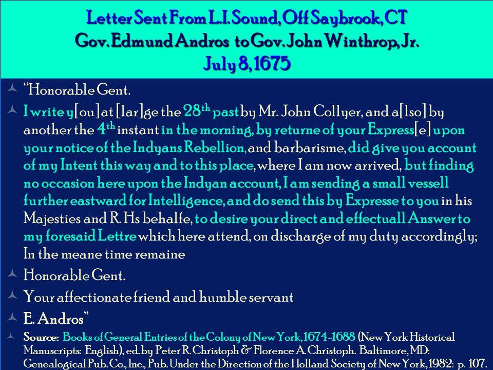 Letter Sent From L.I. Sound, Off Saybrook, CT Gov.