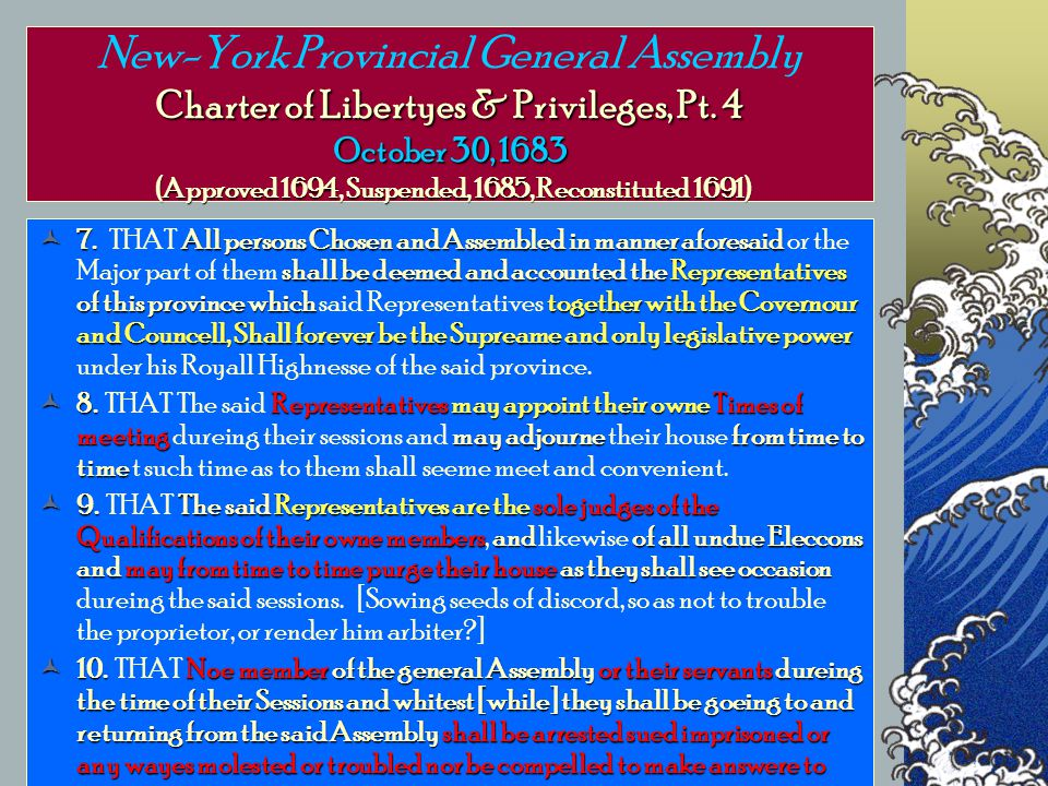 Charter of Libertyes & Privileges, Pt.