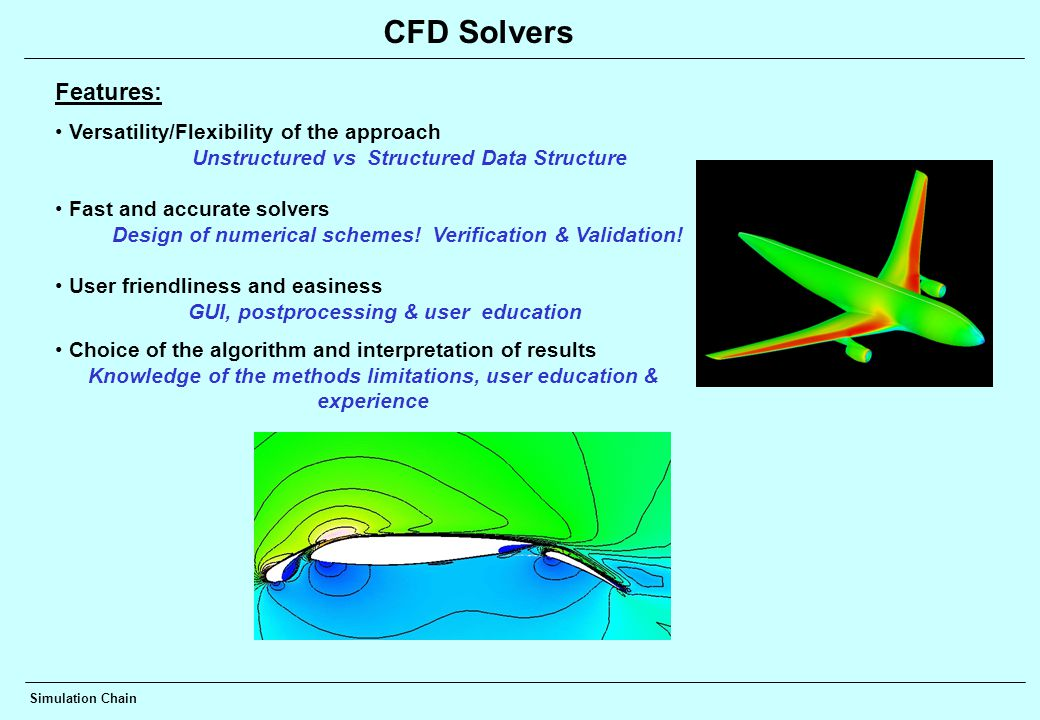 CFD Solvers Features: Versatility/Flexibility of the approach Unstructured vs Structured Data Structure Fast and accurate solvers Design of numerical schemes.