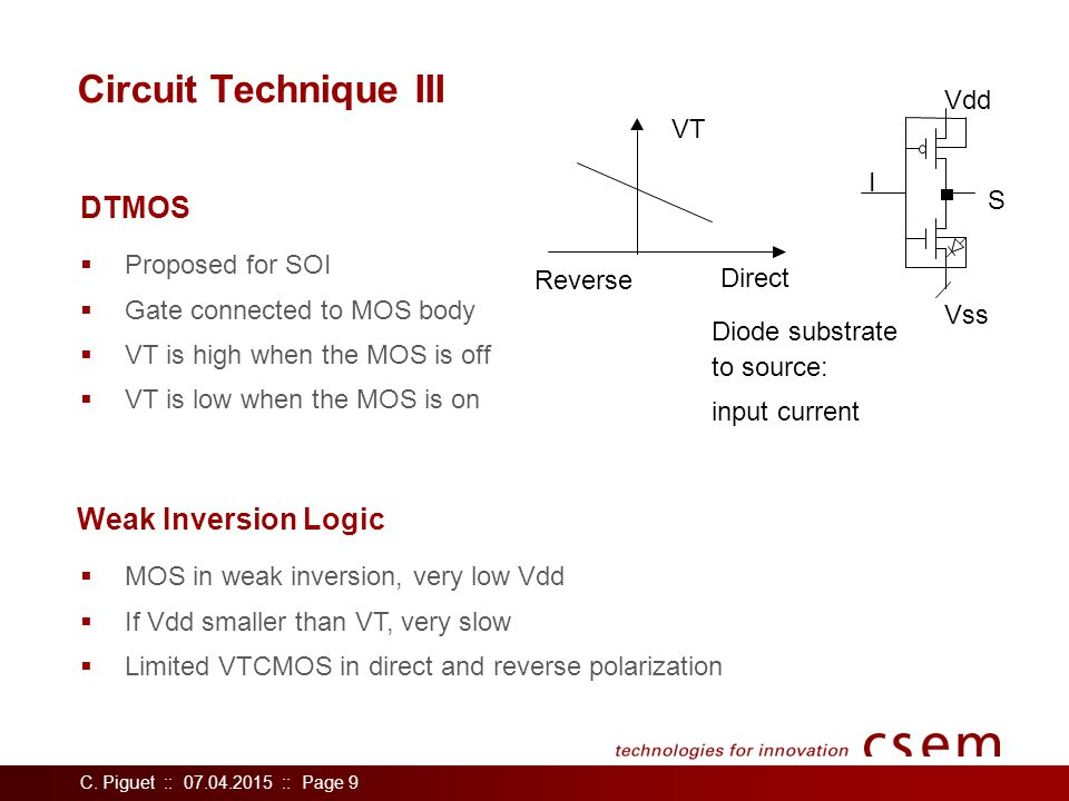 C. Piguet :: 07.04.2015 :: Page 9 Circuit Technique III  Proposed for SOI  Gate connected to MOS body  VT is high when the MOS is off  VT is low w