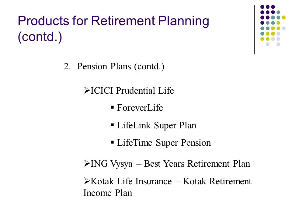Products for Retirement Planning (contd.) 2.