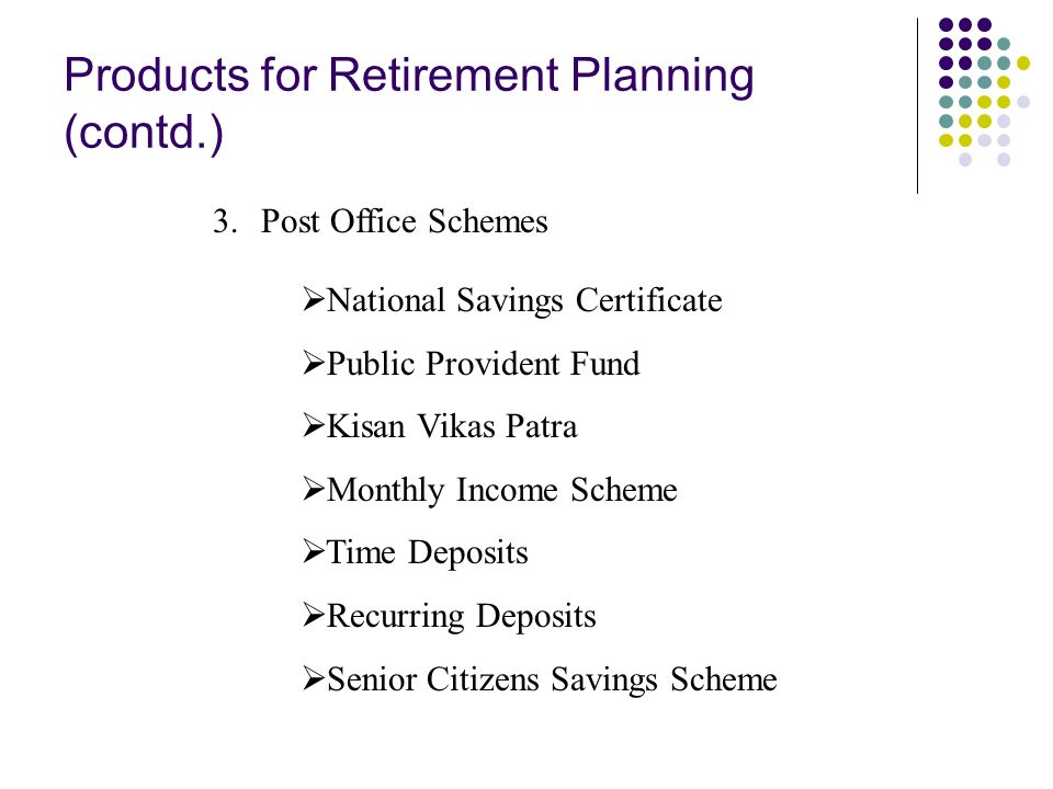 Products for Retirement Planning (contd.) 3.