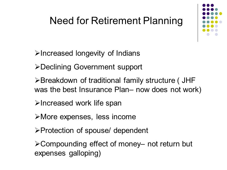 Need for Retirement Planning  Increased longevity of Indians  Declining Government support  Breakdown of traditional family structure ( JHF was the best Insurance Plan– now does not work)  Increased work life span  More expenses, less income  Protection of spouse/ dependent  Compounding effect of money– not return but expenses galloping)