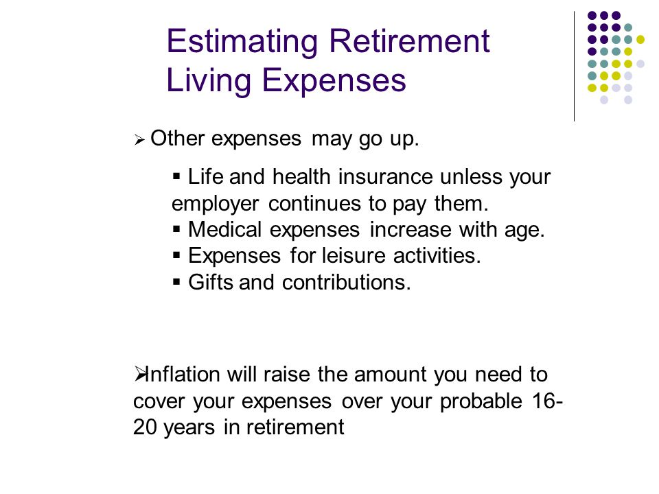 Estimating Retirement Living Expenses  Other expenses may go up.