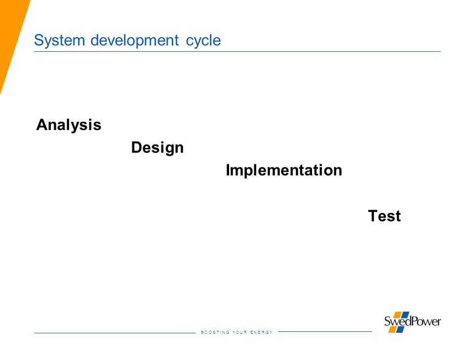 B O O S T I N G Y O U R E N E R G Y System development cycle Analysis Design Implementation Test