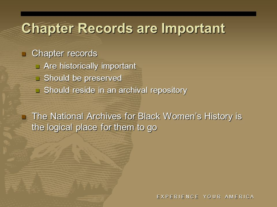 E X P E R I E N C E Y O U R A M E R I C A Chapter records Chapter records Are historically important Are historically important Should be preserved Should be preserved Should reside in an archival repository Should reside in an archival repository The National Archives for Black Women's History is the logical place for them to go The National Archives for Black Women's History is the logical place for them to go Chapter Records are Important