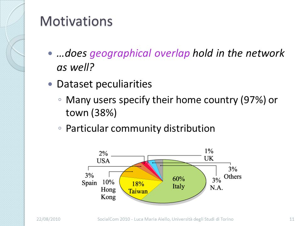 Motivations …does geographical overlap hold in the network as well.