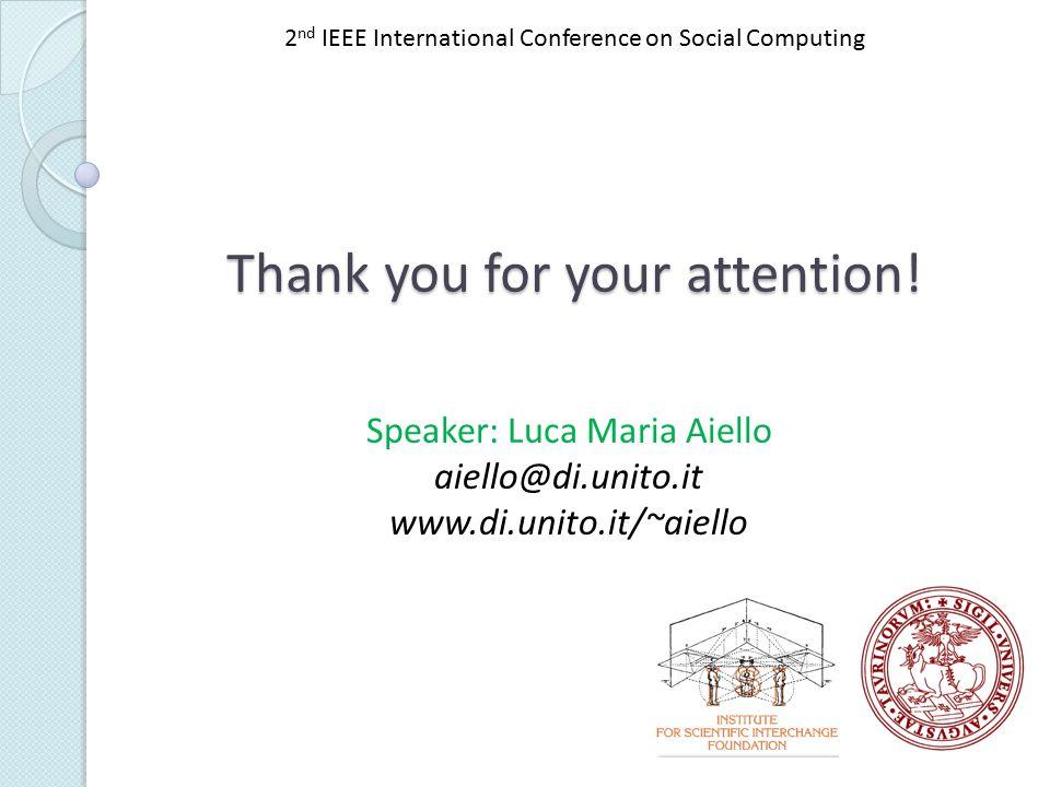 Speaker: Luca Maria Aiello aiello@di.unito.it www.di.unito.it/~aiello Thank you for your attention.