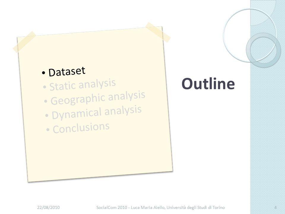 22/08/2010SocialCom 2010 - Luca Maria Aiello, Università degli Studi di Torino4 Dataset Static analysis Geographic analysis Dynamical analysis Conclusions Outline