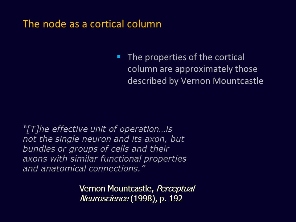 The node as a cortical column  The properties of the cortical column are approximately those described by Vernon Mountcastle [T]he effective unit of operation…is not the single neuron and its axon, but bundles or groups of cells and their axons with similar functional properties and anatomical connections. Vernon Mountcastle, Perceptual Neuroscience (1998), p.