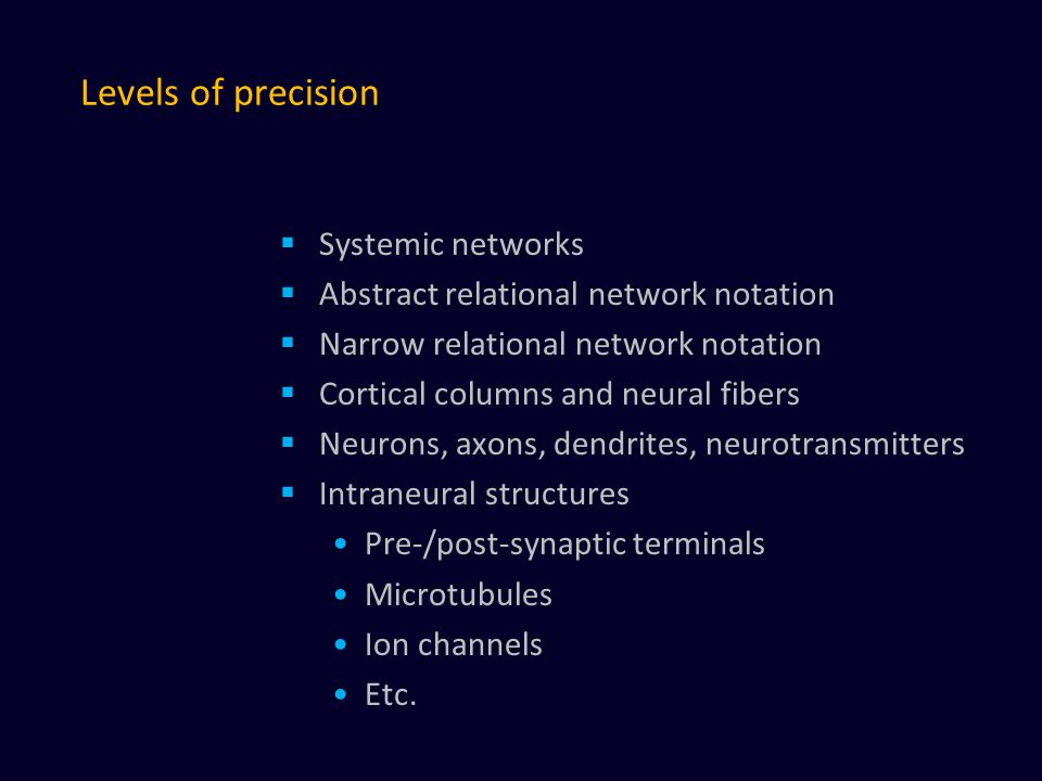 Levels of precision  Systemic networks  Abstract relational network notation  Narrow relational network notation  Cortical columns and neural fibers  Neurons, axons, dendrites, neurotransmitters  Intraneural structures Pre-/post-synaptic terminals Microtubules Ion channels Etc.