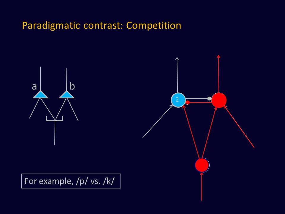 Paradigmatic contrast: Competition a b 2 2 For example, /p/ vs. /k/